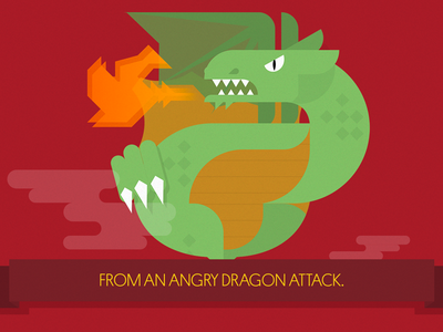 The legend of Sant Jordi: The Dragon illustration flat