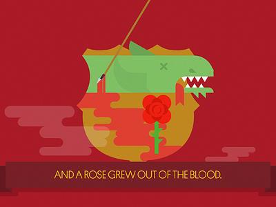 The legend of Sant Jordi: The Rose illustration flat