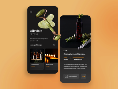Massage Therapy App Concept aromatherapy candle oil therapy massage ui app design app