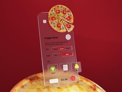 Glassmorphism Pizza Concept concept glassmorphism tomato olive pizza food app design ui