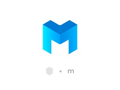 M gradient design cube rubiks logo m