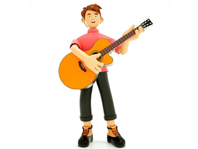 Character Holding Guitar illustration smiley face guitar character 3d cinema4d c4d
