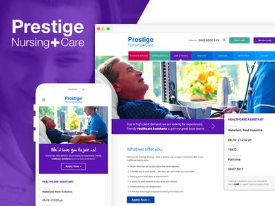 Prestige Nursing + Care development web design