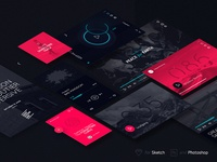 Daphne X Dark UI Kit free photoshop psd ui ui kit web design sketch sketch app