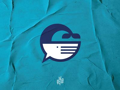 Whale Chat Logo application app cloud fish whale simple chat symbol modern emblem logotype logo illustration graphic design branding