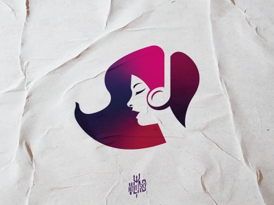 Woman Music Logo sale logo for sale lady hair character woman note music girl modern illustration logotype logo graphic design