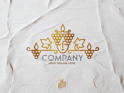 The Royal Grapes Queen Woman Logo королева виноград wine лого логотип queen logo for sale sale grapes lady modern emblem illustration logotype logo graphic design