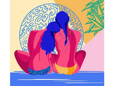Good night, love nature art drawing intimacy women colors vector illustration