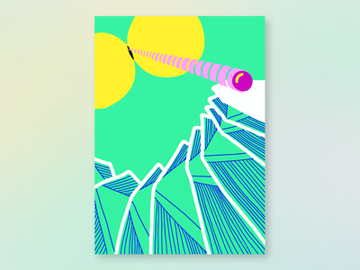 Where stuff comes from vaporwave colorful creation circle art spiritual green abstract stairs neon bright illustration