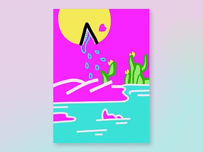 Spreading the love pacman heart vaporwave plants water god love emoji neon bright colorful illustration