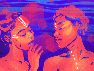 Multi-Dimensional Love feminine friendship sweet soul spirit bright flame tribal dimensions love art illustration