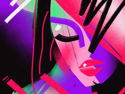 A Winter's Farewell romantic abstract lips moon woman neon art illustration
