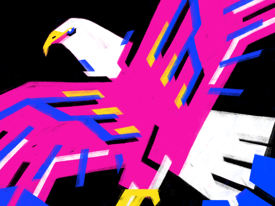 Flight Mode bird blue pink graphic animal wings night flight fly eagle neon art illustration