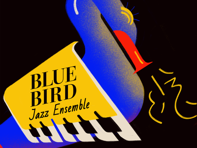 Bluebird Jazz Ensemble keyboard visual design logo blue bird grapgic design graphic jazz music illustration art