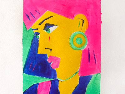 A Closer Look style face graphic geometric 80s portrait painting woman neon illustration art