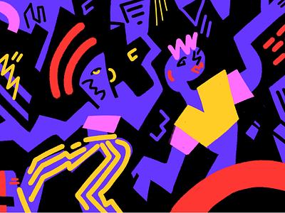 Crazydance gestalt music crazy happy funky city party dance night graphic art illustration