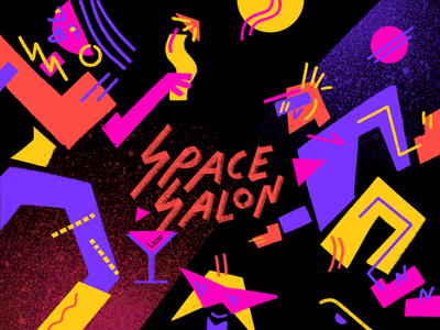 Space Salon 🍸 dance cocktail hand typography logo funky planet party space abstract geometric 80s graphic neon art illustration