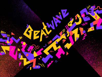Beat Wave graphic happy party style street nightlife creatures people dance wave beat music funky shapes geometric abstract 80s neon art illustration