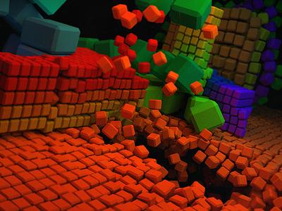 Cornelius beeple time free project passion apart falling colors cubes 3d 4d cinema