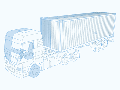 Franklin drawing line illustrator illustration blue semi truck