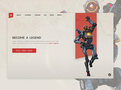 003_Landing Page video game robot landing page ux web website desktop daily ui 003 apex legends landscape design ui