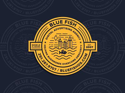 Blue Fish Badge alabama brand icon minimal branding vector flat badge logo design badgedesign