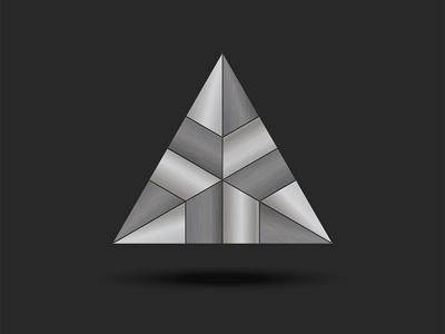Metal triangle shape metal texture composite construction logo structure design logo metallic texture vector emblem futuristic branding logo design silver pyramid metalic metal triangle shape triangle logo