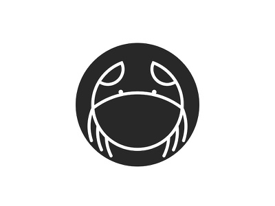 Logo crab of round shape icon design logo monogram emblem linear icons logo design round logo animal illustration minimal minimalist logo black  white circle logo line art animal logo seafood crab logo crab