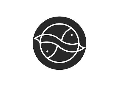 Two fish logo for a seafood restaurant seafood icon black and white fish icon linear icons animal icon round logo circle logo symmetric logo seafood restaurant restaurant logo logo design seafood logo seafood animal logo minimal minimalist logo fish illustration two fish fish logo