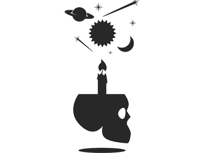 Fortune teller poster halloween illustration art logo design poster design spirit spiritual minimal gothic alchemy planet sun skull candle skull logo astrology mystical negative space black  white human skull fortune telling fortune teller