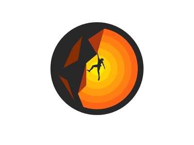 Solo climbing sunrise sunset branding design sport icon activity t-shirt illustration vector illustration round logo emblem logo design sport illustration sports branding sports design sports logo extreme sports climber climbing solo climbing