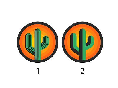 Cactus logo round shape sunset emblem design print design t-shirt illustration minimalist logo minimal design vector vote nature illustration round logo nature logo plant illustration logo design cactus logo cactus illustration cactus