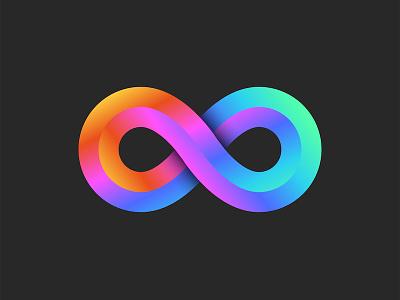 Infinity symbol illustration 3d art 3d logo icon design bright colors geometric art infinity shape identity endless gradient design gradient logo vector design logo icon infinite loop infinity logo