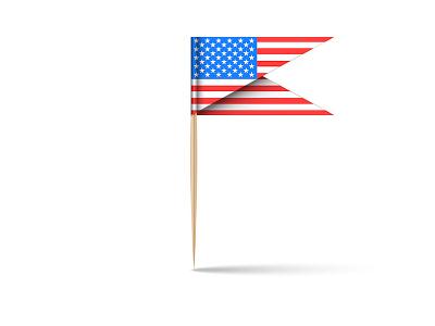 USA flag emblem shape realistic design illustration 3d mockup 3d vector vector wooden stick tooth stick burger stick 3d modeling 3d art american flag usa flag usa