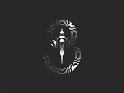 Letter B or 3 number design minimal logo branding design design monogram typography vector art line art linesart linear design metallic gradient monogram logo logo design 3 number b monogram b logo b letter