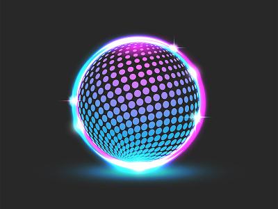 Glitter disco ball design gradient logo digital art illustration sparkles cyber logo logo design vector cyberpunk style neon light glowing neon glowing ball round logo glitter ball cyberpunk circle logo ball logo dotted pattern disco ball