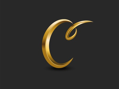 Letter C logo monogram curl script font monogram vector typography typography art logo design monogram design monogram logo golden logo metallic logo gold golden c monogram c letter c mark c logo