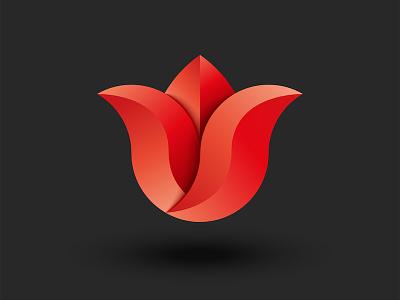 Holland tulip :) yoga logo beauty salon spa logo logo design branding vector red flower shadows red gradient holland tulip red tulip flower tulip flower 3d logo 3d art flower logo tulip logo tulip