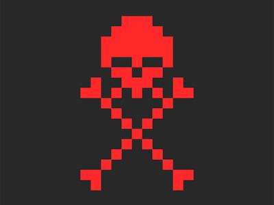 jolly roger pixel art pixel art cartoon illustration emblem design face red warning emblem logo design corsair t-shirt print illustration print t-shirt illustration crossbones skull and crossbones skull logo pirates jolly roger
