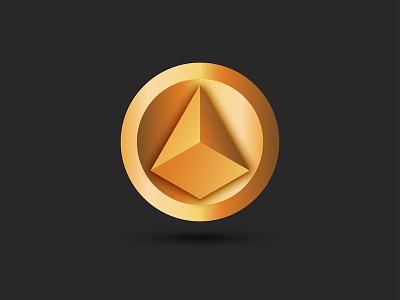 Pyramid logo for cryptocurrency token coin golden logo illustration 3d vector 3d art circle logo branding design disk 3d logo round logo yellow gradient logo logo vector cryptocurrency logo design pyramid logo pyramid