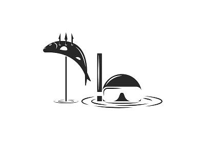 Underwater hunter illustration black and white negative space snorkeling diver graphic design catch trophy water fishing snorkel harpoon mask illustration spearfishing sports illustration diving hunter underwater
