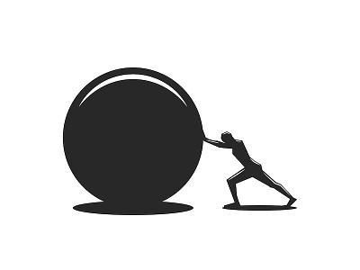 Greek mythology Sisyphus branding logo design push athlete man graphic design minimal greek myth aim goal motivation vector design black and white illustration concept ball stone sisyphus myth greek mythology