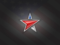 Usa flag colors star shape logo