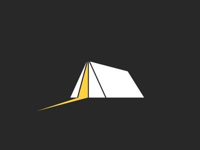 Tent illustration emblem dark night shadow light equipment turism logo adventure travel camping camp tent
