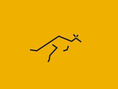 Jumping kangaroo icon icon australia emblem symbol wallaby australian animal line primitive linear minimal jumping kangaroo