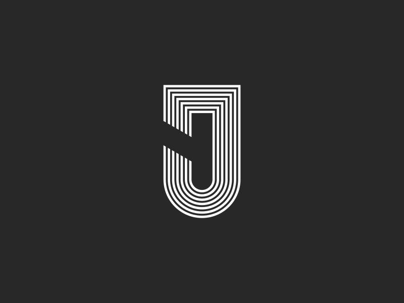 Logo J letter minimal white black simple emblem line shape parallel thin typography mark initial linear monogram letter j logo