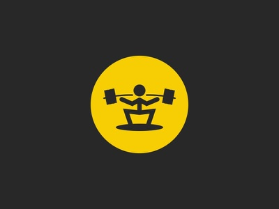 Weightlifter sport icon round shape powerlifting sportsman black yellow round shape simple barbell athlete sport illustration emblem logo icon weightlifter