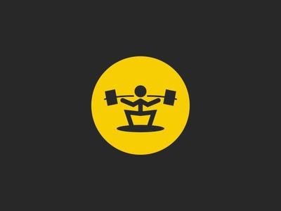 Weightlifter sport icon round shape