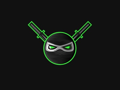Ninja mask sport culture black esport logo mascot logo design circle eyes japanese emblem mask green dark background swords ninja