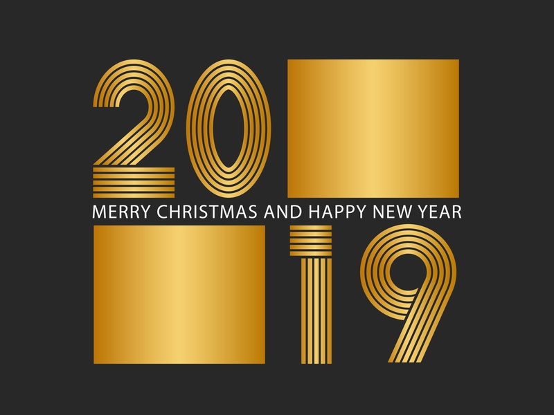 2019 Happy New Year greeting card mockup typography shape design card mumber 2019 number download 2019 gold golden free new year card new year 2019 background free download greeting card happynewyear happy new year 2019 logo emblem